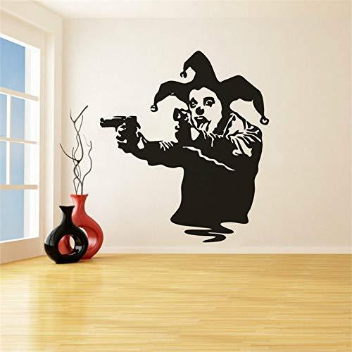 fiti Wandaufkleber Stil Clown Mit Waffen Vinyl Wandtattoo Joker Gun Removable Wall Murals 57X64 CM ()