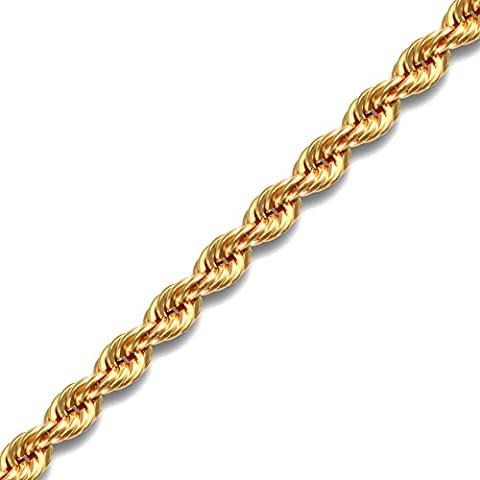 Jewelco London Ladies 9ct Yellow Gold Diamond Cut Rope 4.3mm Gauge Bracelet