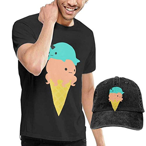 Kostüm Ice Herren Mann Cream - Baostic Herren Kurzarmshirt Octopus Ice Cream Fashion Men's T-Shirt and Hats Youth & Adult T-Shirts