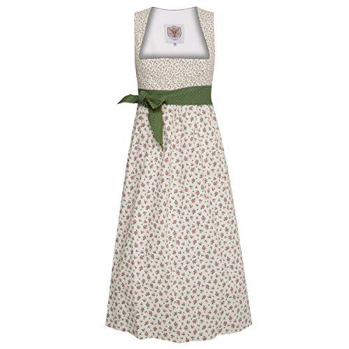 Umstandsdirndl Nina in Creme mit Blumen und grüner Schleife