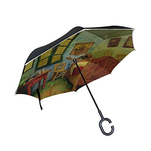 BENNIGIRY Van Gogh - Paraguas Reversible Plegable de Doble Capa con protección contra el Viento, protección UV, Gran Paraguas Recto para Coche, Lluvia al Aire Libre, Mango en Forma de C