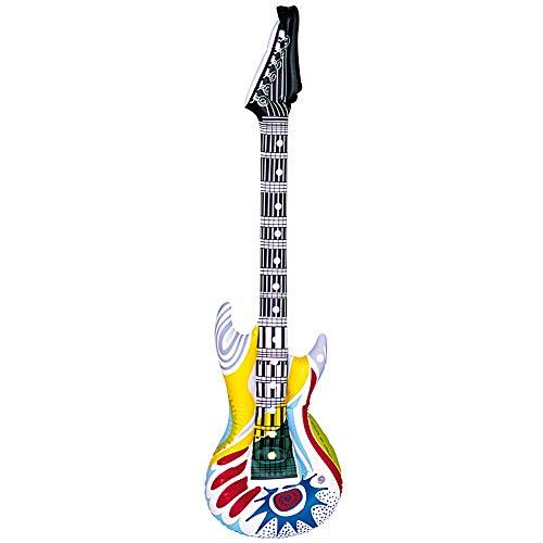 Widmann 23943 Aufblasbare Gitarre Funky, Unisex- Erwachsene, Mehrfarbig, Taglia unica (And Roll Rock Motto-halloween-party)