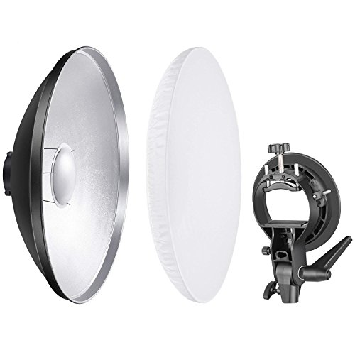 Neewer Foto Studio 41 Zentimeter Beauty Dish Aluminium Beleuchtung Reflektor mit weißem Diffusor und S-Typ Blitz Speedlite Halterung Bowens...