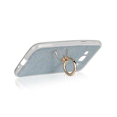 Luxus Bling Sparkle Style Case, Soft TPU [Silikon] Flexible Glitter Rückentasche mit Fingerring Stand [Anti Scratch] [Shockproof] für Samsung Galaxy J3 (2016) ( Color : Gold ) Blue