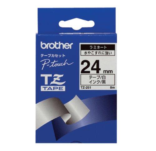 Brother TZ251 Nastro per Etichettatura, 24 mm, Nero su Bianco