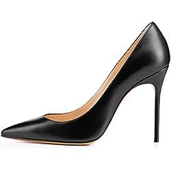 uBeauty Damen Slip On Stilettos High Heels Pumps Geschlossene Spitze Zehen Übergröße Klassischer Schuhe Schwarz Leder 40 EU