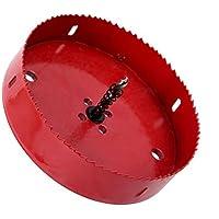 Sierra de perforacion - TOOGOO(R)Trepano con vastago rectangular y sierra de perforacion, Bimetalico, 150 mm Rojo