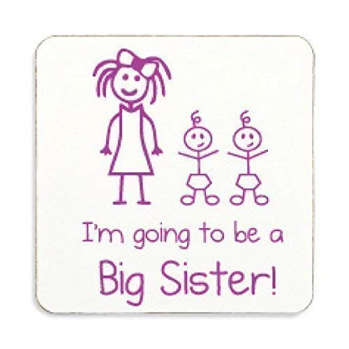 Im Going To Be A Big Sister Kork Untersetzer Twins Geschenk Schwangerschaft Baby Celebration Geschenk für ältere Schwester (Twin Schwester Geschenke)