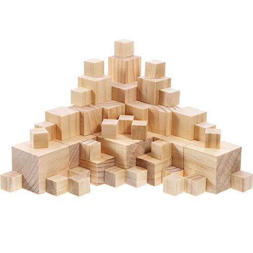 100 Stück Unvollendete Hölzerne Würfel feste natürliche hölzerne quadratische Blöcke für Baby Puzzle Herstellung, Handwerk und DIY-Projekt, 3 Größen Gemischt (Feste Würfel)