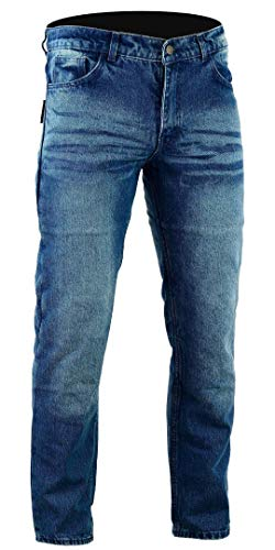 Bikers gear australia limited kevlar foderato classic motorcycle jeans ce protezione, stone wash denim, taglia 34s