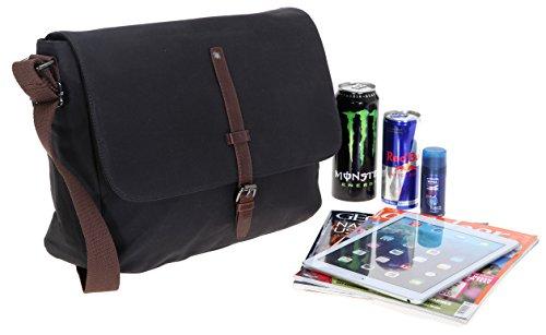 Tasche CURUBA Canvas Messenger STRIPE Kuriertasche Schultertasche + Leder Schlüßeletui (Braun) Schwarz