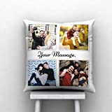 Pix Art Polyester Blend 4 Photo with Text Msg Printed Decorative Customized Cushion, 12X12 Inch (Multicolour)