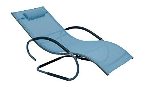 La Mer mal Aluminium basculant Deluxe XXL Swing Chaise longue Chaise longue bain de soleil chaise longue de jardin, bleu, 160 x 75 x 85 cm