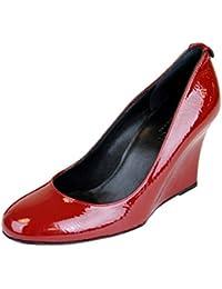 Gucci Cuero de patente rojo enclavamiento G cuña bombas 256339 (9 U.S. / 39 se)