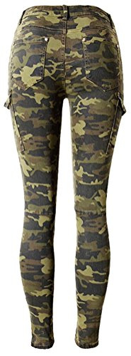 SMITHROAD Damen Stretch Jeansleggins Skinny Jeanshose Röhrenjeans Armeegrün in 6 verschiedenen Designvarianten Stil C