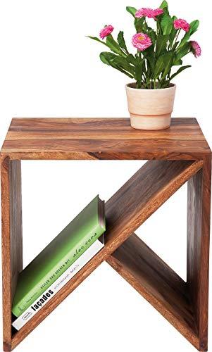 Kare Design Cuben Authentico Zigzag, Beistelltisch, Couchtisch, Braun (H/B/T) 40x40x40cm