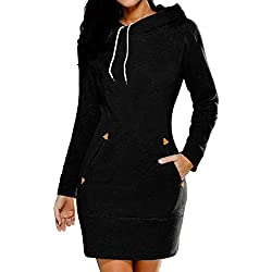 La Mujer Casual Manga Larga con Capucha Sudaderas Blusas Otoño Invierno Vestido con Bolsillos Black L