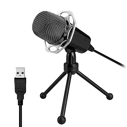 XIAOKOA PC USB Mikrofon, Plug & Play USB Kondensator Mikrofon für Computer, Notebook Geeignet für Präsentationen, Podcasts, Skype, Aufnahmen, Instant Messaging, Spiel