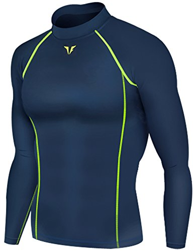 New 203 Navy Skin Compression Tights Base Layer Running Shirts Men - Sporting Goods Running Gear Sports Apparel, Uv Protective Performance Base Layer Cycling Apparel, Health Fitness Crossfit Clothing For Men (L)