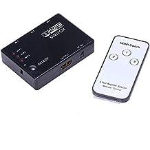 Interruttore HDMI generico 3 in 1, sdoppiatore HDMI a 3 porte 1080P con interruttore infrarossi integrato e telecomando IR per audio, HDTV, PS3, DVD