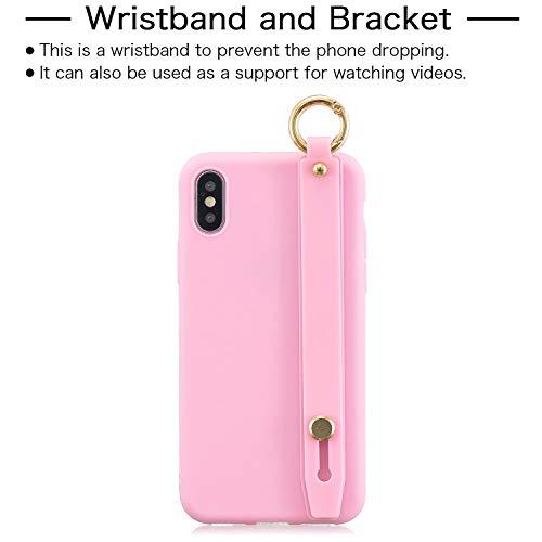 ETbotu Für iPhone x-xs einfache einfarbige schicke Handgelenk Seil Stehen matt TPU Kratzfest rutschfeste schutzhülle zurück Fall 5 Dark pink 5 dunkelrosa (Iphone 5 Kostüm)
