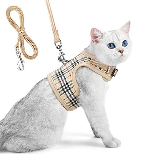 Unihubys Cat Harness with Leash Set- Adjustable Soft Mesh Material with Strong D-Ring for Peace of Mind, Great for Walking, Travel or Visiting the Vet without Escape (M)