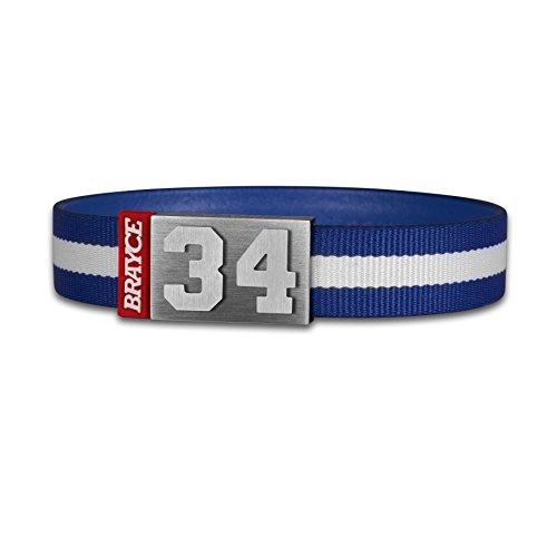 BRAYCE® Trikot am Handgelenk® mit Deiner Trikot Nummer 00-99 I Armband blau & weiß I Sportarmband/Teamarmband personalisierbar & handgemacht