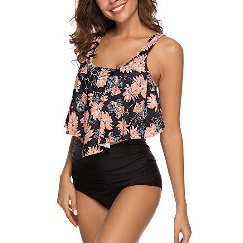 Shujin Damen High Waist Bademode Sommer Strand Retro Bikini Set mit Rüschen Vintage Ruffles Zweiteiliger Badeanzug und Hoher Taille Bikinihose, Blumen  schwarz, L