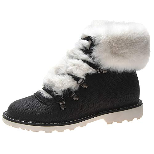 Women\'S Leopard Print Round Toe Flat Non-Slip Keep Warm Bare Boots Cotton Shoes Damen Ritter Shoes Stiefel Wildleder Freizeitschuhe Halten Warme Schuhe Flache Sportschuh Rutschfeste(Schwarz,39)