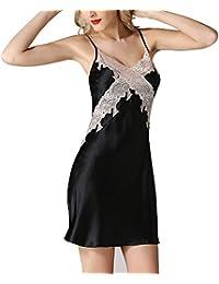 5b1910931d HUIFANG Pijamas Unidos para Mujer Sexy De Verano Correa De Pijamas  Tentación De Encaje Ropa para