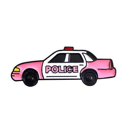 WDDqzf ornament Dekoration Statuen Nette Weihnachtsbrosche Cartoon Polizei Auto Emaille Brosche Männer Frauen Denim Rucksack Dekor Party Abzeichen, Rosa (Polizei-statue)