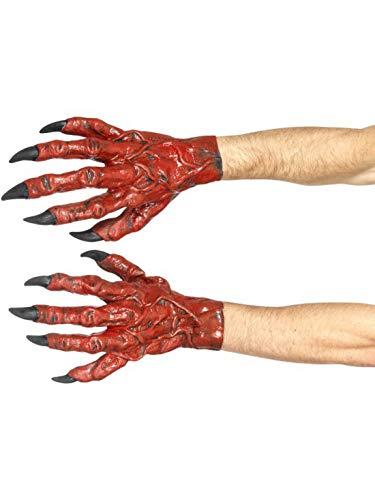 Halloweenia - Herren Teufel Devil Dämonen Latex Handschuhe Pranke mit Krallen, Kostüm Accessoires Zubehör, perfekt für Halloween Karneval und Fasching, Rot