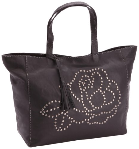 Loxwood  Ramita Message Crumble,  Borsa shopper donna Nero (Schwarz (Black))
