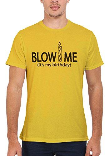 Blow Me it's My Birthday Funny Men Women Damen Herren Unisex Top T Shirt Licht Gelb