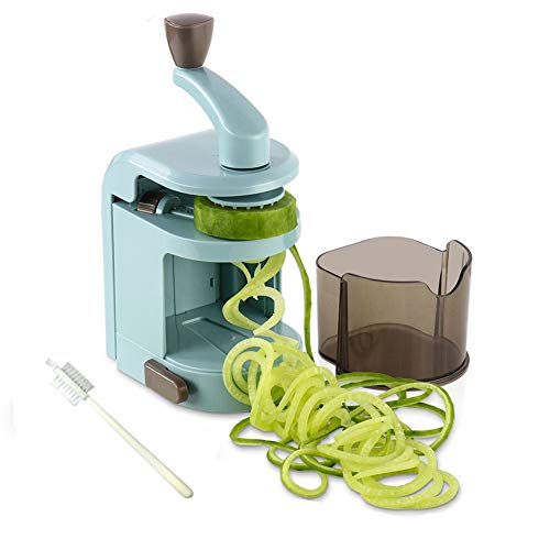 Ourokhome Zucchini Noodle Maker Spaghetti Spiralizer- 4 Built-in Vegetable Slicer for Veggie Noodles and Curly Chips