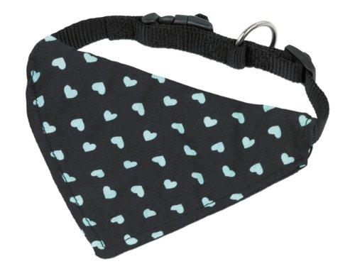 Nobby Halsband mit Tuch, schwarz-türkis, Länge 30-40 cm; Breite 15 mm (Türkis Hundehalsband)