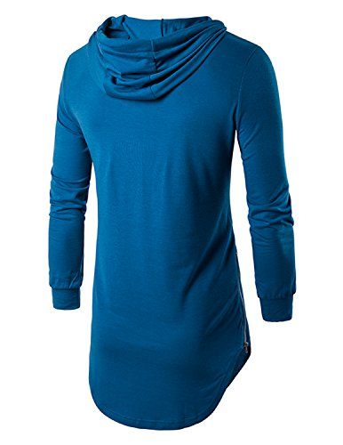 YCHENG Herren Hip Hop Langarmshirt mit Kapuze Lange Sweatshirts Hoodies Shirts Blau