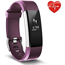 Fitness Tracker, AUSUN 115 HR Plus Monitor de frecuencia cardiaca, IP67 impermeable pulsera inteligente con podómetro contador de pasos, monitor de sueño, contador de calorías, color morado