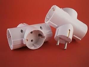 3-Fach Schukostecker Adapter T - Stecker - waagerecht weiss