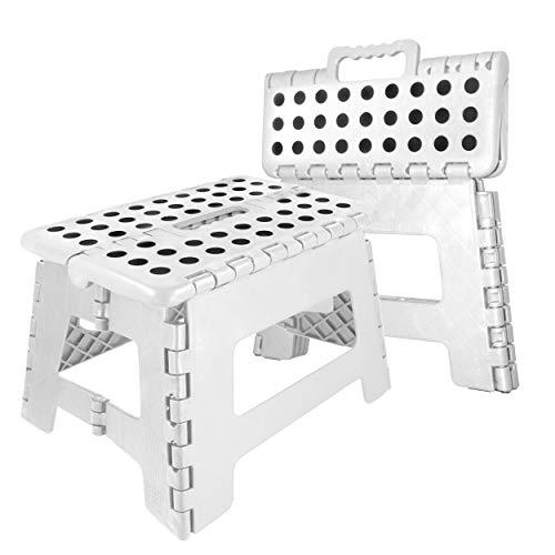 Oramics Klapphocker faltbar - 29 x 22 x 22 cm belastbar bis 100 Kg - praktischer Kunststoff Tritt-Hocker Klapptritt Trittleiter klappbar (Weiß)