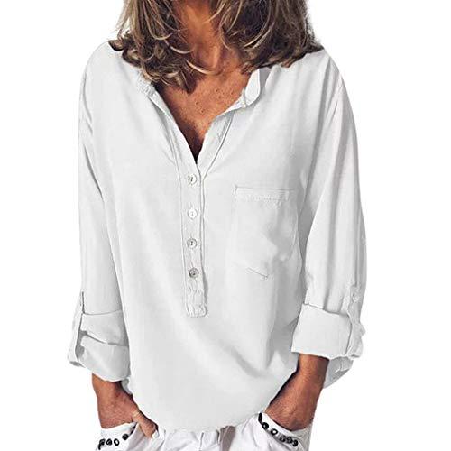Oksea Langarm T-Shirt Tops Lässiges Langarm T Shirt für Damen Sommer beiläufiges V Ausschnitts-Knopf-langärmliges T Shirt übersteigt Bluse
