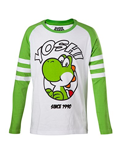 Super Mario Yoshi Kinder-Longsleeve Grün/Weiß - Super Mario Kostüm Babys