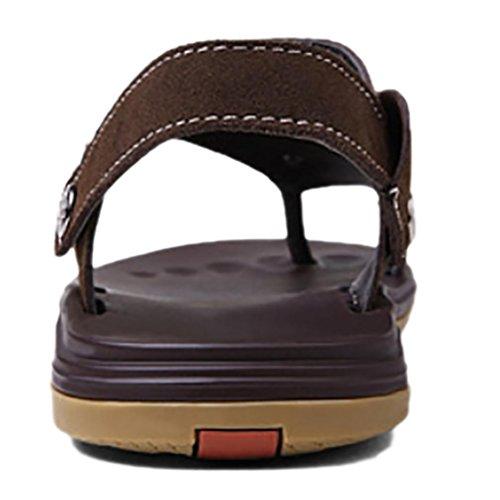 SHANGXIAN Estate Flip Flops Casual Sandali uomo in pelle (due generi di tees) Brown