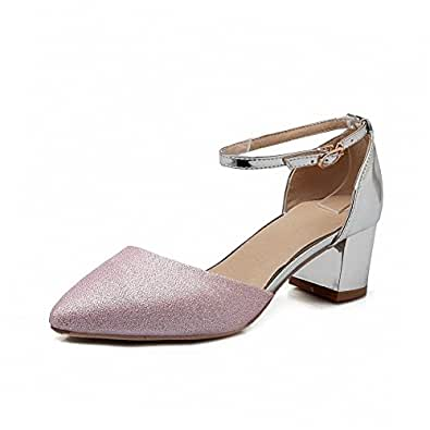 AllhqFashion Women's Blend Materials Kitten Heels Pointed Closed Toe Buckle Pumps Shoes, Pink, 34