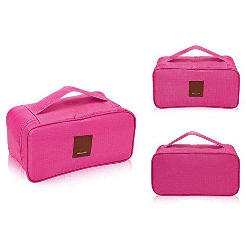 THEE Reise Kosmetiktasche Aufbewahrungsbeutel Damen Unterwäsche Tasche Makeup Organizer Rosa Rot