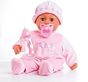 Bayer Design - 93824AA - First Words Baby - Muñeca bebé primeras Palabras (24 Sonidos, 38 cm) - muñeca con un biberón y un Chupete, Color Rosa