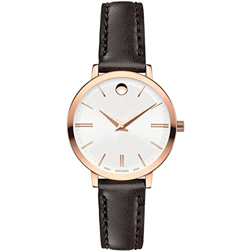 MOVADO WOMEN'S 28MM BROWN LEATHER BAND STEEL CASE QUARTZ ANALOG WATCH 607096