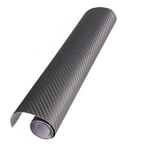 Audew stickers pellicola 3d carbonio adesiva foglio nero wrapping auto moto tuning 152x30cm grigio