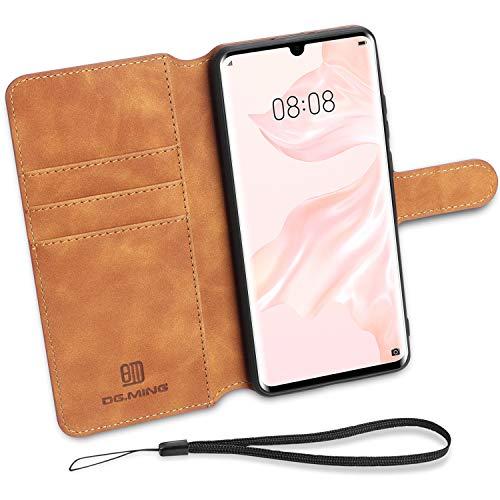 Aucaeo Cover per Huawei P30 PRO, 360 Gradi Antiurto a Libro in PU Pelle Libretto Portafoglio Ultra Slim Sottile Wireless Chiusa Magnetica Custodia con Supporto per Huawei P30 PRO, Marrone