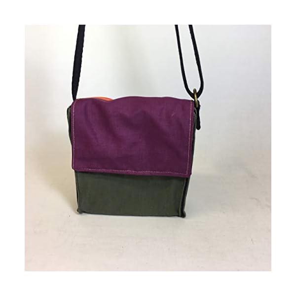 Upcycled vegan small shoulder bag 35x33 - handmade-bags